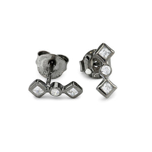 Zara stud silver earrings. 925 sterling silver plated with black ruthenium and set with three cubic zirconias. For a discrete, yet sparkly sexy look. From the Kinz Kanaan Summer Tribute 2017. danish Arabic design. Ornamental minimalistic design.