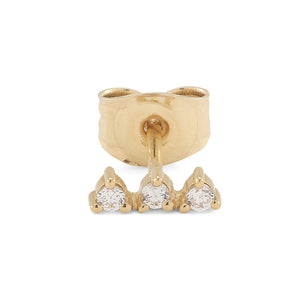 Three stars 14-karat gold plated 925 sterling silver earring with three cubic zirconias. From the Kinz Kanaan Rhytm collection.
