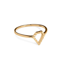 Load image into Gallery viewer, Super Power gold ring (14-karat). Solid gold ring from the Kinz Kanaan Super Love Power collection. Danish Arabic jewellery design. Ornamental minimalistic scandinavian jewellery design.