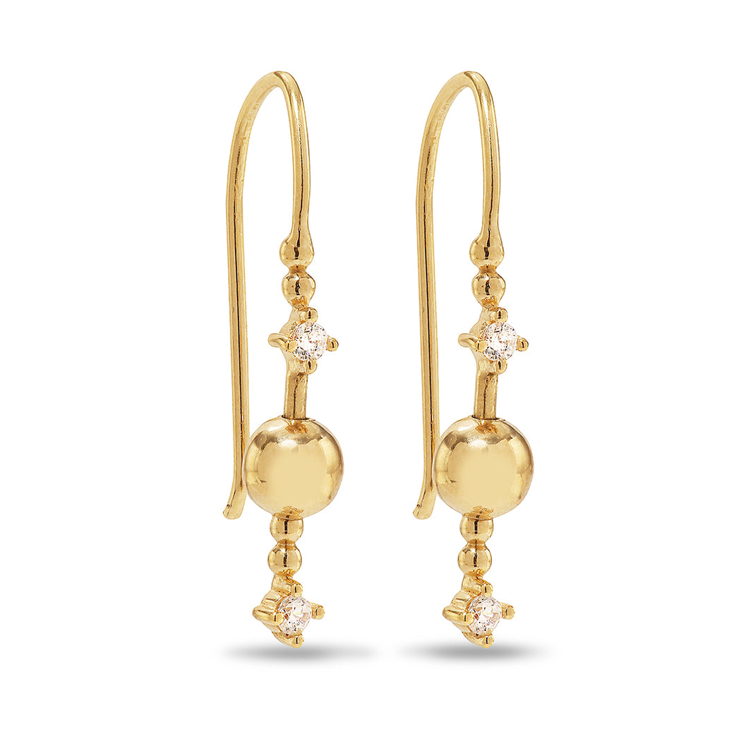 Venus Stars 925 sterling silver 14-karat gold plated hook earrings. The Venus Stars consist of two bright sparkling zirconia stars circling a great golden sphere. Ear rings from the Kinz Kanaan Rhytm collection.