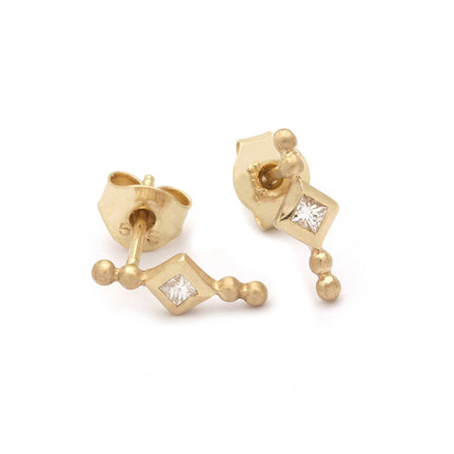 Almas gold earrings with diamond (14-karat) stud earring