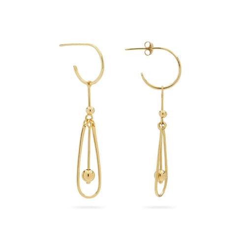 925 sterling silver 14-karat gold plated pendulum earring pendul hoop to remind us of the rhytm of the universe, fro. the Kinz Kanaan Rhytm collection.