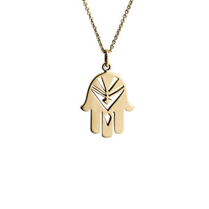 Fatima's Hand gold pendant (14-karat). Protecting gold amulet from the Kinz Kanaan Arabic Love collection.