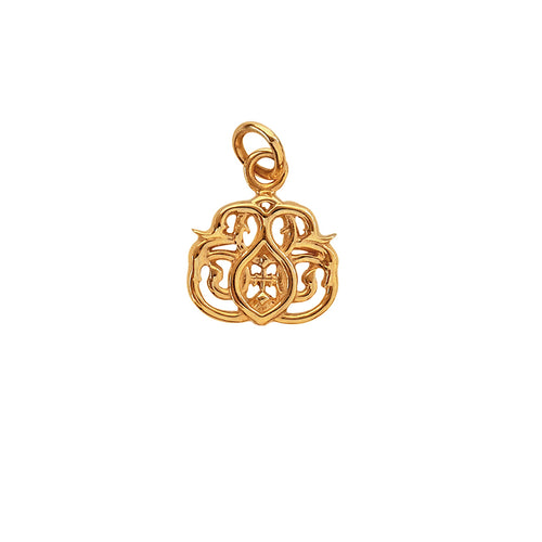 Kinz Kanaan flower gold pendant (14-karat solid gold). From the 2017 Summer Tribute. Danish Arabic jewellery design.