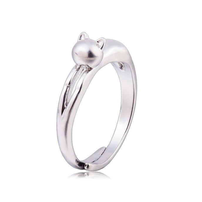 Silver Cute Cat Open Ring