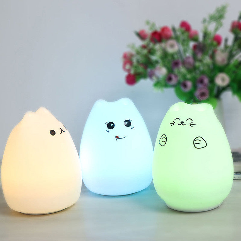 8 Colors Rechargeable Silicon Cartoon Cat LED NightLight