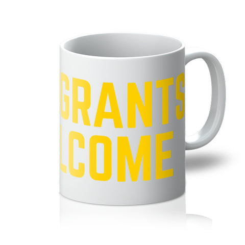 Immigrants Welcome (yellow print) - mug