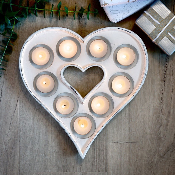 Retreat - Nine T-light Heart in Grey or White