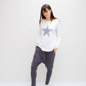 Chalk Tasha White Top with light grey star