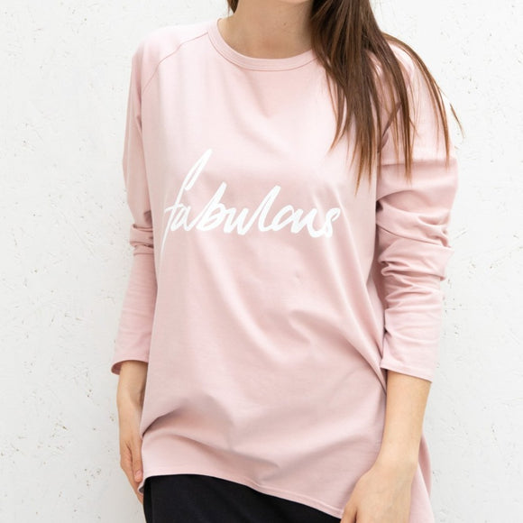 Chalk - Robyn Pink Top | Script 'Fabulous' Embellishment in White