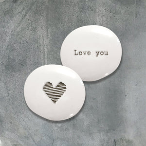 East of India Porcelain Pebble - 'Love you'