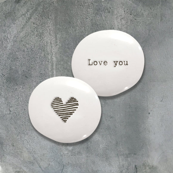 East of India Porcelain Pebble - Love you heart