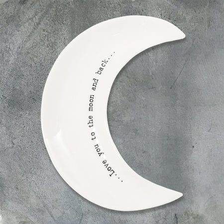 East of India - 'Love you to the moon & back' Porcelain Wobbly Moon Dish