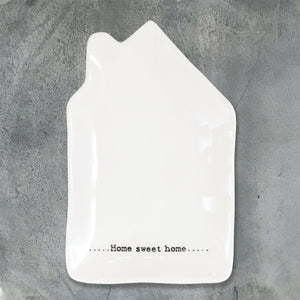 East of India - 'Home Sweet Home' Porcelain Wobbly House Dish
