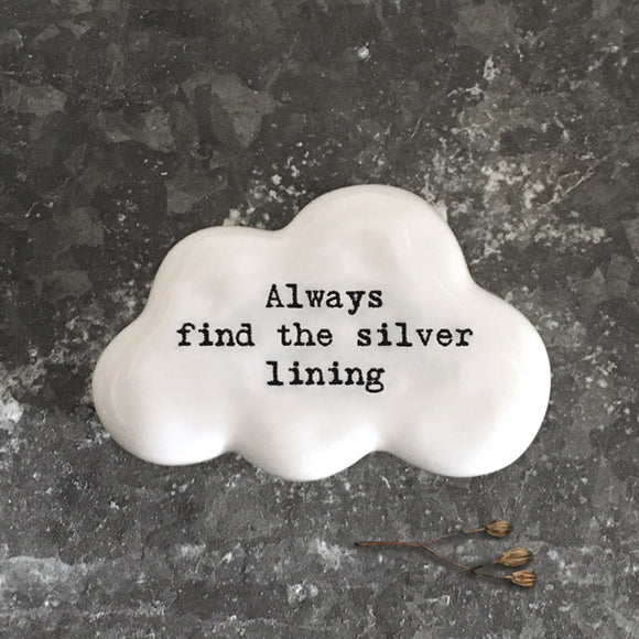 East of India - White Cloud Pebble 'Always find the silver lining' - 6748