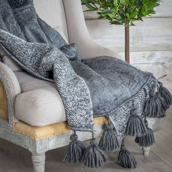 Retreat - Grey Hand-woven Bell Tassel Throw | 21AW52