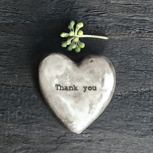 East of India - Rustic Heart Pebble Token 'Thank You'