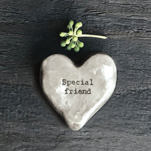 East of India - Rustic Heart Pebble Token 'Special Friend'
