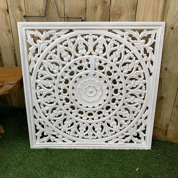 Retreat - Large White Carved Panel