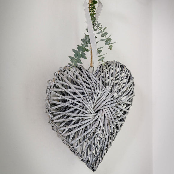 Retreat - Hanging Twisted Grey Wicker Heart 40cm