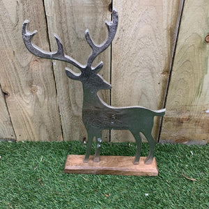 Christmas - Aluminium Deer on Wooden Base