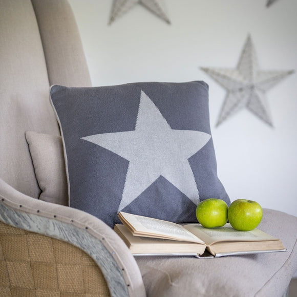 Retreat - Reversible Light Grey & Charcoal Star Cushion | 20SS30