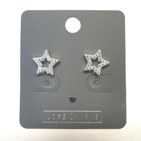 Life Charm Earrings - CZ Open Star