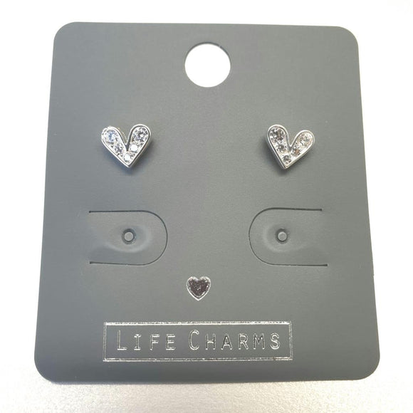 Life Charm Earrings - Cute CZ Heart Studs