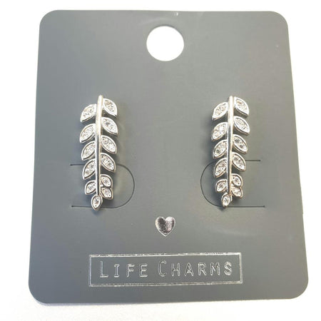 Life Charm Earrings - CZ Fern Leaf Studs