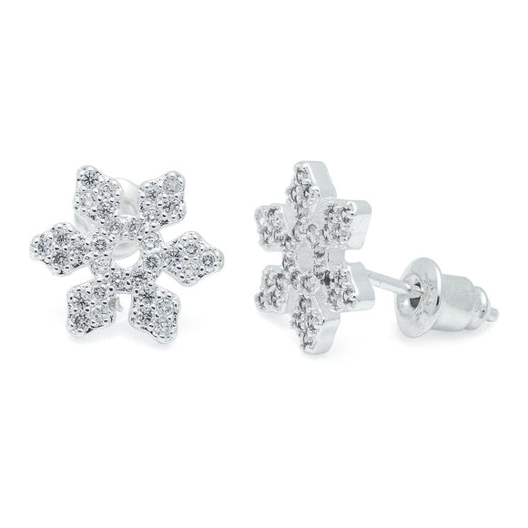 Life Charm Earrings - CZ Snowflake Studs