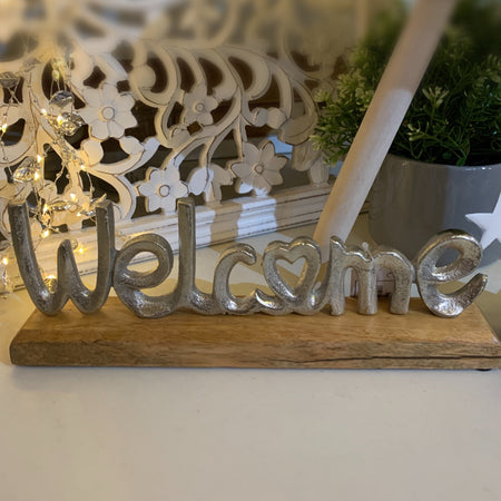 Aluminium Welcome on Wooden Base