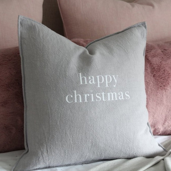 Happy Christmas Cushion | Natural Fibre | Silver (Oblong or Square)