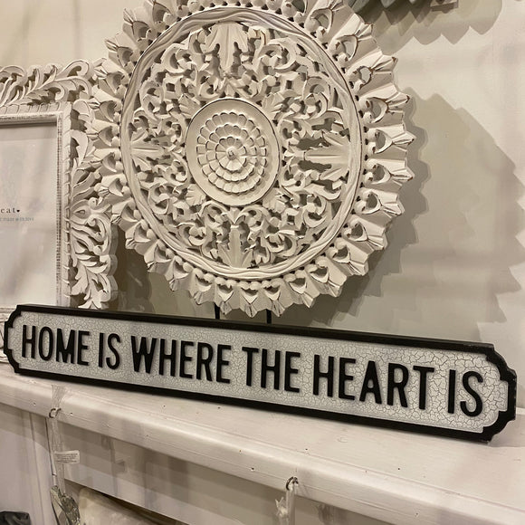 Small Vintage Street Sign 'Home is where the heart is
