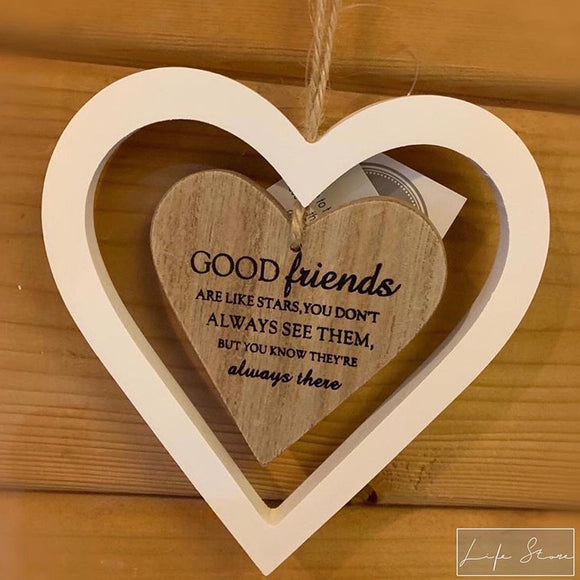 Hanging Heart Decoration - Good Friends are like Stars