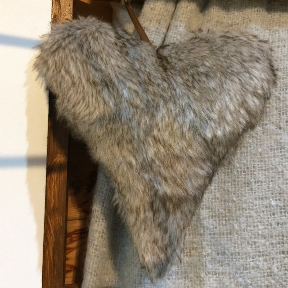 Faux Fur Heart shaped cushion