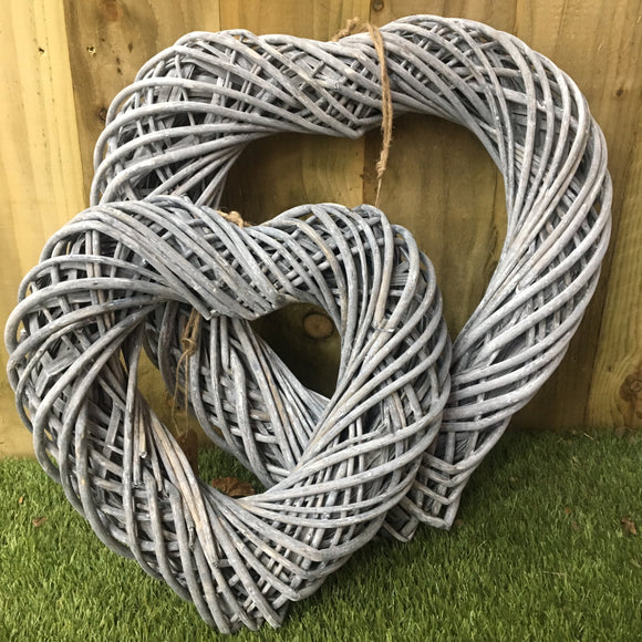 Greywashed Wicker Heart Wreath