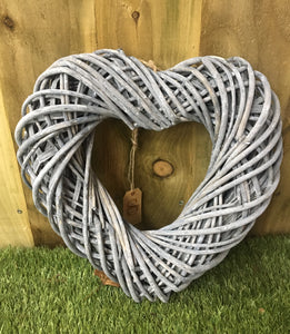 Greywashed Wicker Hanging Hearts