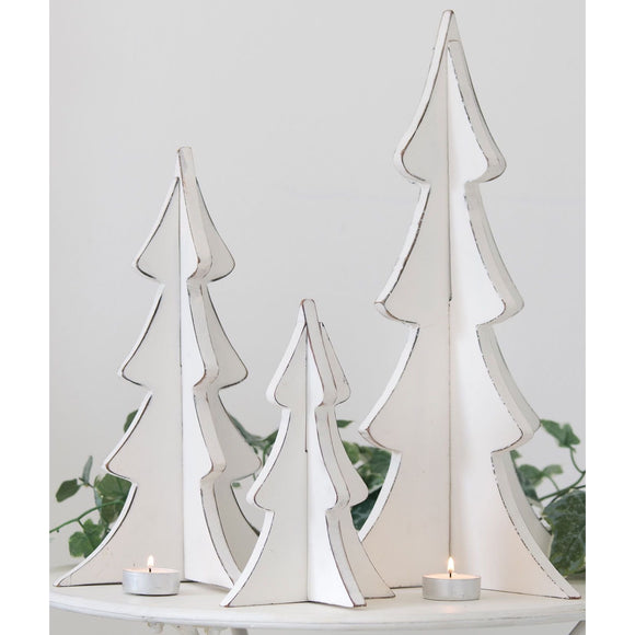 Retreat Christmas - Distressed White Standing Wooden Trees - 3 sizes