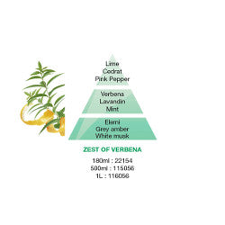 Lampe Berger Zest of Verbena pyramid image of the ingredients used for this fragrance