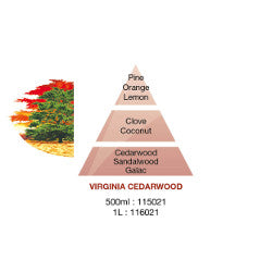 Lamp Berger Viriginia Cedarwood fragrance pyramid image showing the contents