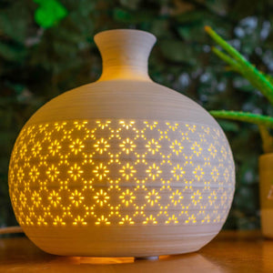 Light Glow Ceramic Lamp - Round Jar Vase