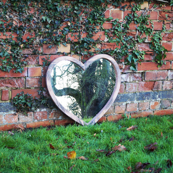Large Wooden Heart Mirror