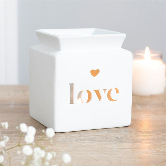 *BACK IN STOCK SOON* White Ceramic Square Wax Burner - Cut out 'Love'