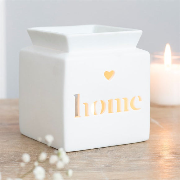 *BACK IN STOCK SOON* White Ceramic Square Wax Burner - Cut out 'Home'