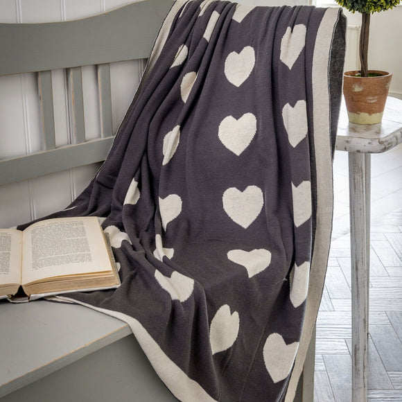 Retreat - Reversible Charcoal & Ivory Heart Throw | 20SS32