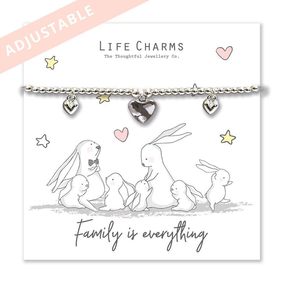 Life Charm Rosey Rabbit Bracelet Collection - Family is Everything