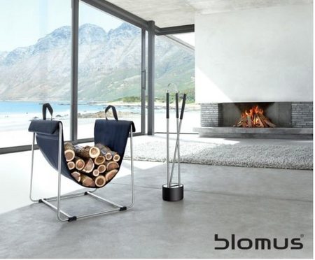Blomus Madra Stainless Steel/Black fabric Log basket