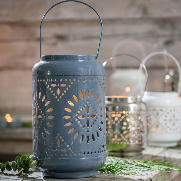 Retreat - Grey Enam Pierce Lanterns | 7inch & 11inch