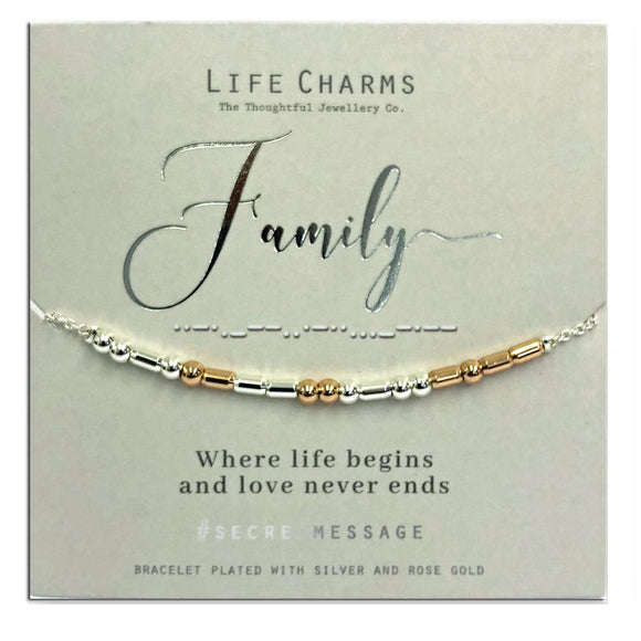 Life Charm Secret Message Bracelet - Family