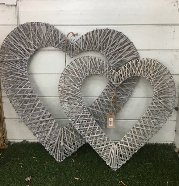 Greywashed Willow hanging Open Heart - Large & Small